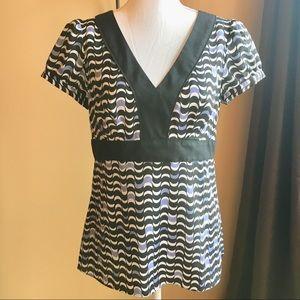 Loft v-neck empire waist short sleeve blouse